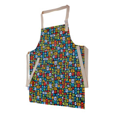 Tween size apron with retro typing numbers print