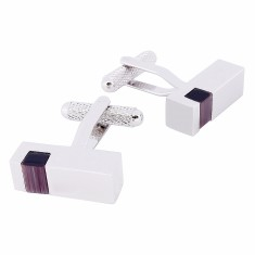 Silver Rectangular with Stone Cufflinks