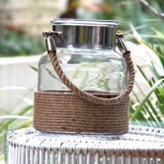 Galle glass stainless steel and rope lantern (various sizes)
