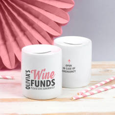 Personalised Wine Funds Money Box