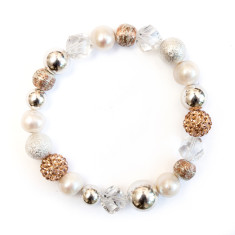 Women's freshwater pearl and crystal bracelet