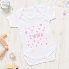 Personalised New Baby Scandi Heart Onesie