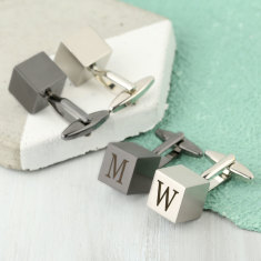 Men's Personalised Brushed Cube Cufflinks