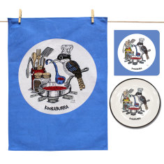 Kookaburra plate, tea towel & card gift pack