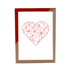 Geometric heart framed print