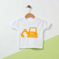 Digger Personalised Baby T Shirt