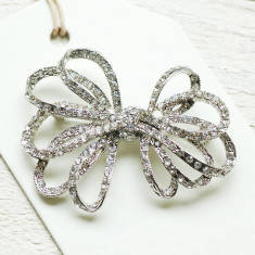 Vintage Style Ribbon Bow Brooch