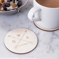 Personalised arrows wooden coasters