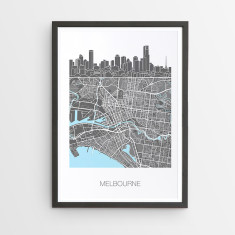Melbourne skyline map print
