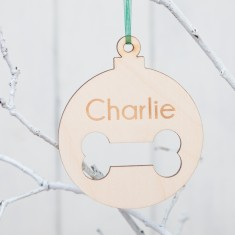 Personalised Birchwood Pet Bauble Dog