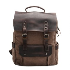 Canvas Backpack/Laptop Bag With Pockets In Brown