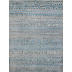 Feza aqua blue hand knotted art silk rug