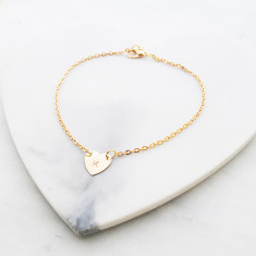 Personalised oh my love heart anklet in gold