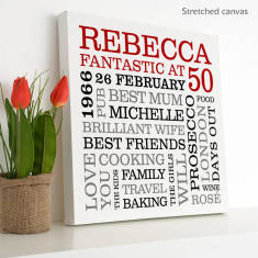 Personalised 50th Birthday Typographic Art