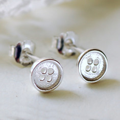 Tiny Silver Button Stud Earrings