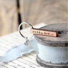 Personalised copper bar key ring