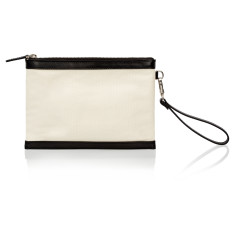 Olivia Clutch with Built-in Phone Charger - Canvas and Black Leather