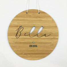 Round personalised name plaque (boys and girls)