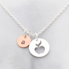 Personalised hand stamped teacher initial and apple necklace in silver and rose gold