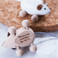 Personalised wooden mouse keepsake