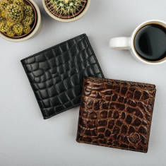 The Vittore Croco Luxury Italian Leather Mens Billfold Wallet