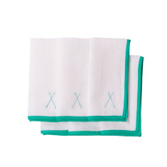 Linen napkins with turquoise embroidery (set of 6)