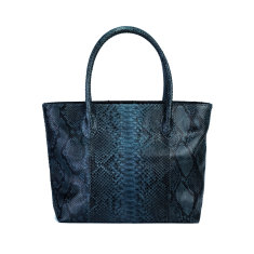 Grey motif python leather tote bag