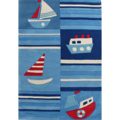 Ships Blue Striped Rug