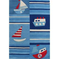 Ships Blue Striped Rug