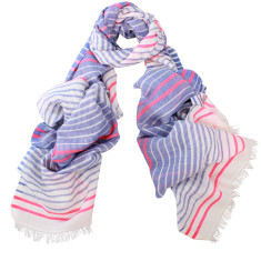 Solo Cotton Horizontal Stripes Scarf (Coral or Blue)
