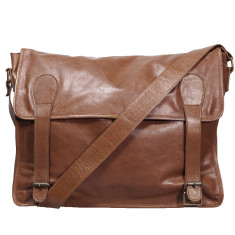 Tan 17 inch Gustaf vintage leather bag