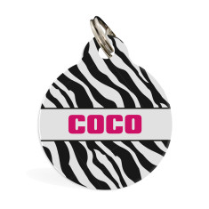 Personalised pet ID tag standard (zebra)