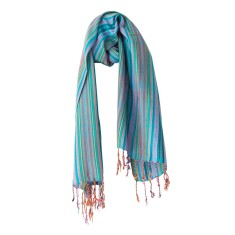 Multi-striped scarf in teal