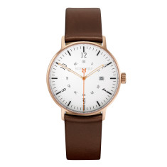 Copper 39mm watch with rust leather band
