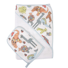WEEGOAMIGO Mitt Washer / Hooded Towel - Wacky Wildlife