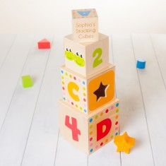 Childrens Wooden Personalised Stacking Cubes