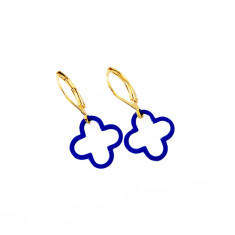 Cobalt fine brass clover earrings