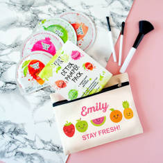 Personalised 'Stay Fresh' Pampering Kit And Makeup Bag