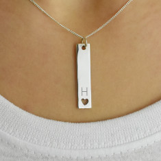 Personalised Initial Heart Bar Sterling Silver Necklace