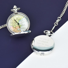 Personalised map pocket watch in silver