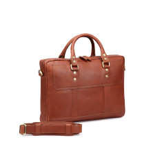 TheCultured Leather Laptop Bag In Tan