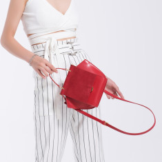 Leather Shoulder Tote Bag In Red