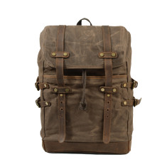 Brown Canvas Backpack/Laptop Bag With Leather Details