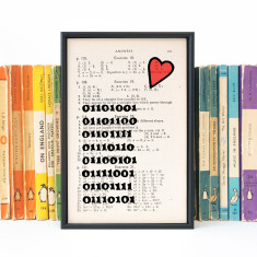 Romantic Geek Gift binary code - book page print