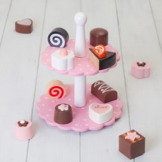 Delightful Wooden Cake Stand And Treats