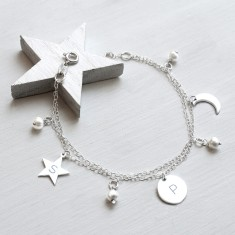 Personalised Sterling Silver and Freshwater Pearl Celestial Bracelet