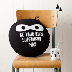 Personalised Superhero Round Monochrome Cushion