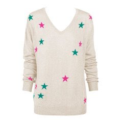 Oatmeal Marle Sweater with Pink and Jade Stars - XS Loose Fit