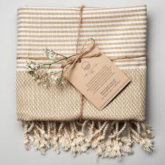 Freshwater Turkish Towel in Latte & White