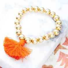 Orange Tassel Bead Bracelet